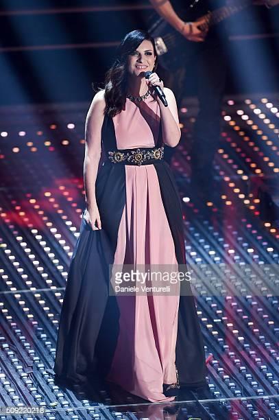 Laura Pausini attends the opening night of the 66th Festival di Sanremo 2016 at Teatro Ariston on February 9 2016 in Sanremo Italy