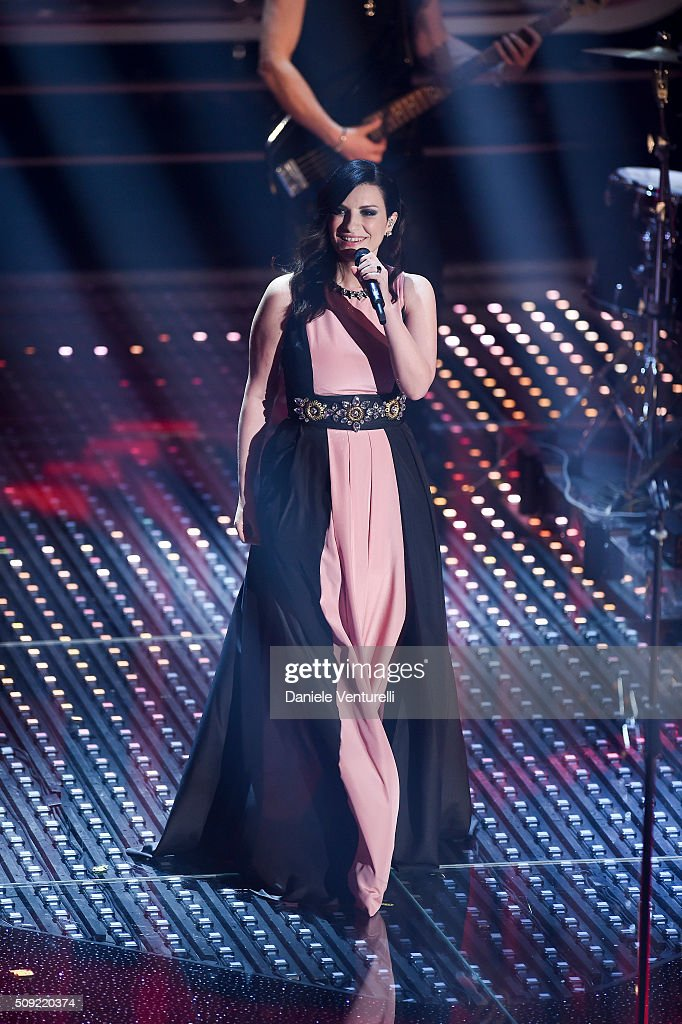 <a gi-track='captionPersonalityLinkClicked' href=/galleries/search?phrase=Laura+Pausini&family=editorial&specificpeople=616401 ng-click='$event.stopPropagation()'>Laura Pausini</a> attends the opening night of the 66th Festival di Sanremo 2016 at Teatro Ariston on February 9, 2016 in Sanremo, Italy.