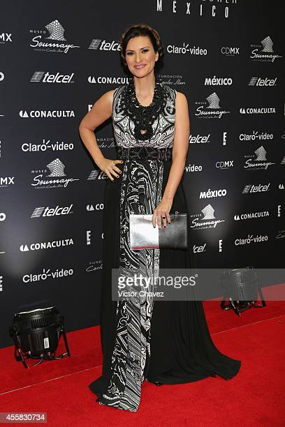 Laura Pausini attends the Sophia Loren's 80th birthday dinner at Museo Soumaya on September 20 2014 in Mexico City Mexico