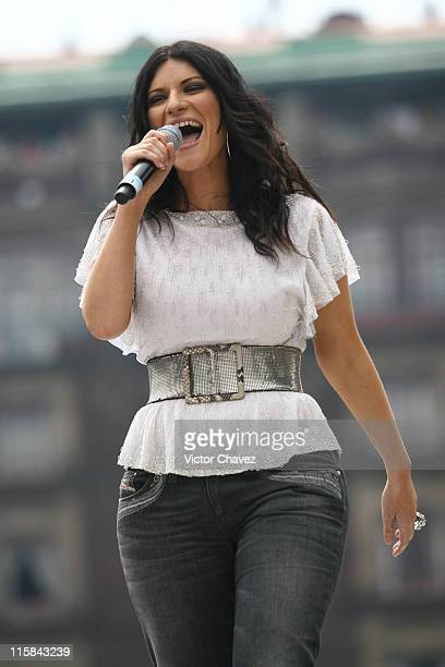 Laura Pausini during Digital 993 Concert in Mexico April 28 2007 at Zocalo in Mexico Mexico City Mexico