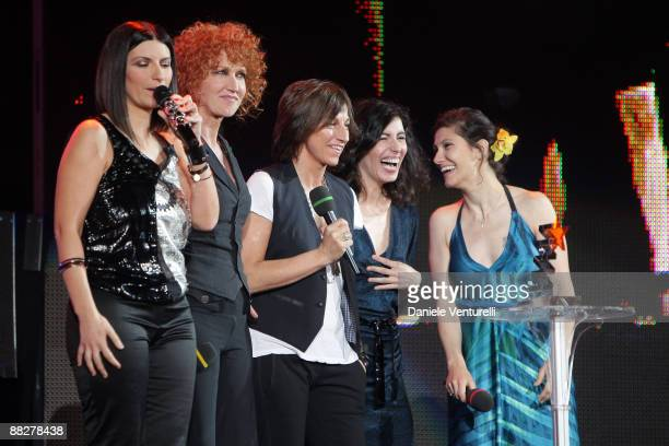 Laura Pausini Fiorella Mannoia Gianna Nannini Giorgia and Elisa attend the 2009 Wind Music Awards at the Arena of Verona on June 6 2009 in Verona...