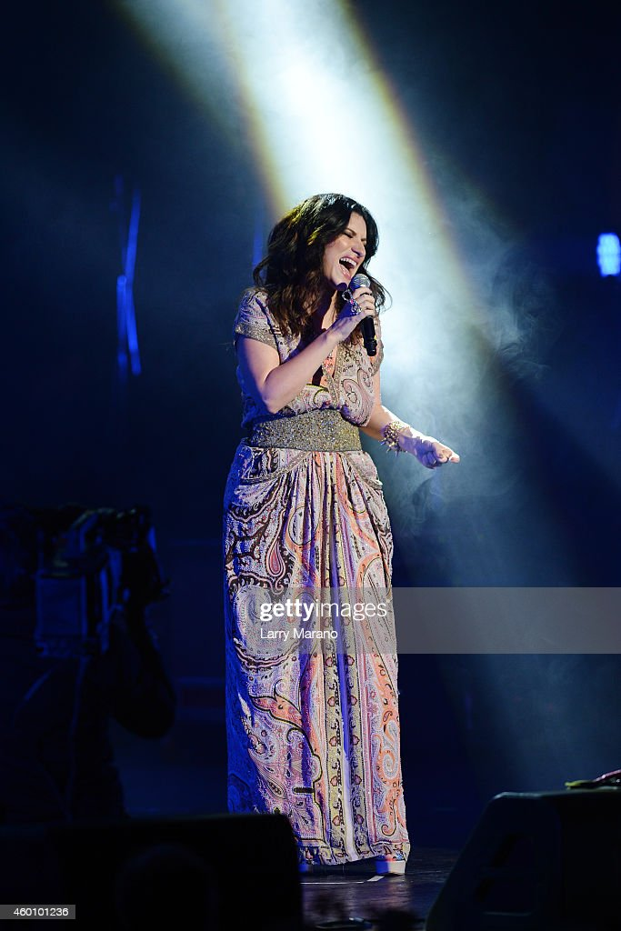 Laura Pausini performs at the 2014 Annual Little Dreamer On The Beach Gala at Fillmore Miami Beach on December 6, 2014 in Miami Beach, Florida.
