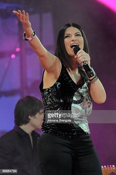Laura Pausini performs at the Arena of Verona during the Wind Music Awards on June 6 2009 in Verona Italy