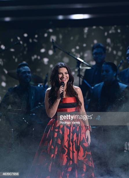 Laura Pausini performs onstage at the 2015 Premios Lo Nuestros Awards at American Airlines Arena on February 19 2015 in Miami Florida