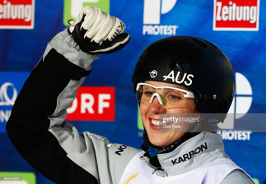 <a gi-track='captionPersonalityLinkClicked' href=/galleries/search?phrase=Laura+Peel&family=editorial&specificpeople=7476976 ng-click='$event.stopPropagation()'>Laura Peel</a> of Australia celebrates victory in the Women's Aerials Final of the FIS Freestyle Ski and Snowboard World Championship 2015 on January 15, 2015 in Kreischberg, Austria.