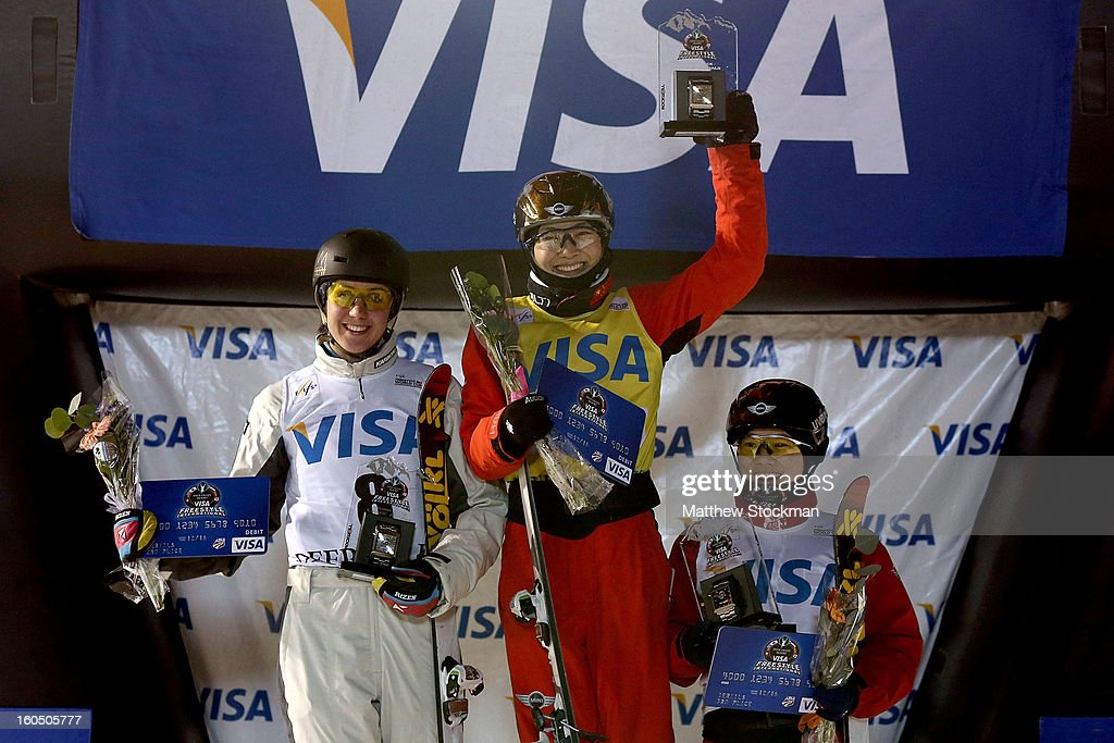 Laura Peel #8 of Australia in second place, Mengtao Xu #1 of China in first place and Xin Zhang #4 of China in third place stand on the medals podium after the Ladies Aerials during the Visa Freestyle International at Deer Valley on February 1, 2013 in Park City, Utah.