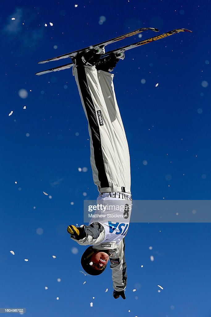Laura Peel #8 of Australia jumps while training for the Ladies Aerials during the Visa Freestyle International at Deer Valley on February 1, 2013 in Park City, Utah.