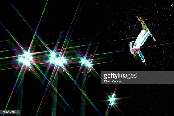 Laura Peel of Australia makes a practice jump ahead of the Freestyle Skiing Ladies' Aerials Qualification on day seven of the Sochi 2014 Winter...