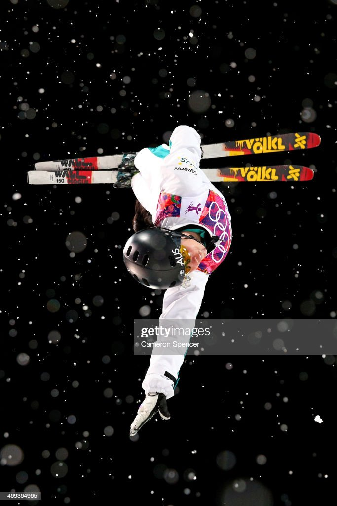 <a gi-track='captionPersonalityLinkClicked' href=/galleries/search?phrase=Laura+Peel&family=editorial&specificpeople=7476976 ng-click='$event.stopPropagation()'>Laura Peel</a> of Australia practices ahead of the Freestyle Skiing Ladies' Aerials Finals on day seven of the Sochi 2014 Winter Olympics at Rosa Khutor Extreme Park on February 14, 2014 in Sochi, Russia.