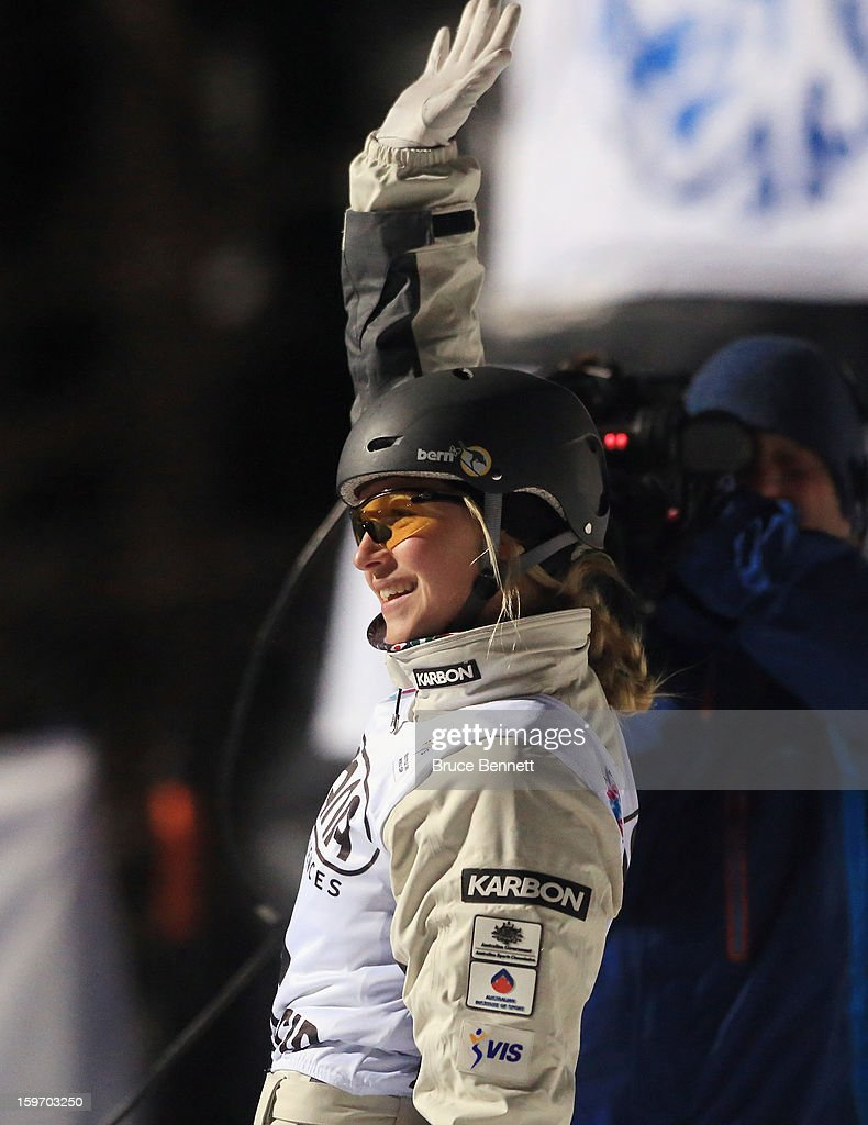 Laura Peel #6 of Australia waves to the crowd after competing in the USANA Freestyle World Cup aerial competition at the Lake Placid Olympic Jumping Complex on January 18, 2013 in Lake Placid, New York.