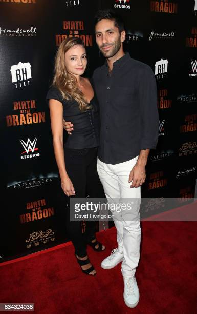 Laura Perlongo and husband producer Nev Schulman attend the premiere of WWE Studios' 'Birth of the Dragon' at ArcLight Hollywood on August 17 2017 in...