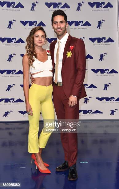 Laura Perlongo and Nev Schulman attend the 2017 MTV Video Music Awards at The Forum on August 27 2017 in Inglewood California