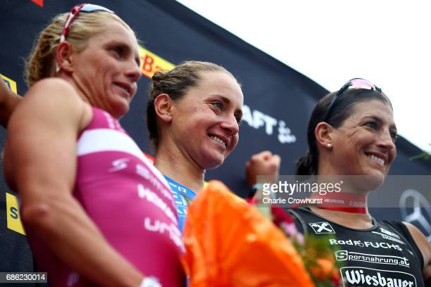 Laura Philipp of Germany celebrates winning the womens with Yvonne Van Vlerken of Holland in second place and Lisa Hutthalerrace of Austria in third...