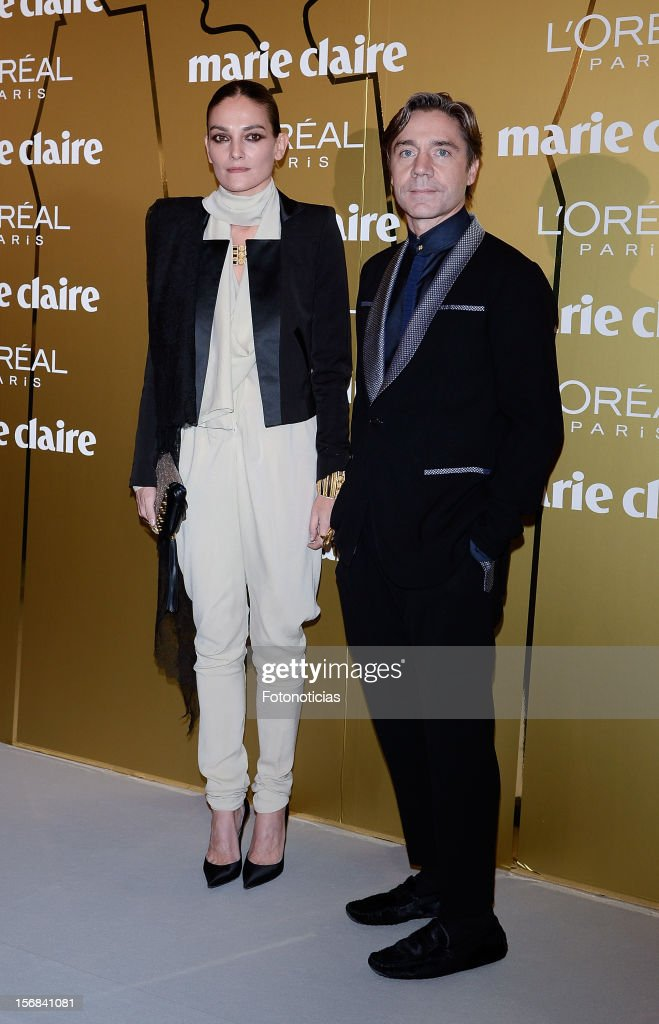 Laura Ponte (L) and guest attend 'Marie Claire Prix de la Mode 2012' ceremony at the French Ambassadors Residence on November 22, 2012 in Madrid, Spain.