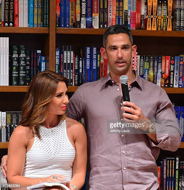 Laura Posada and husband Jorge Posada greets fans and signs copies of her book 'La dieta mental' at Books and BooksGables on June 4 2015 in Coral...