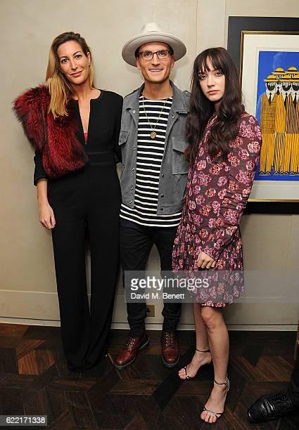 Laura Pradelska Oliver Proudlock and Elizabeth Jane Bishop attend 5 Years of Gazelli SkinCare on November 10 2016 in London England
