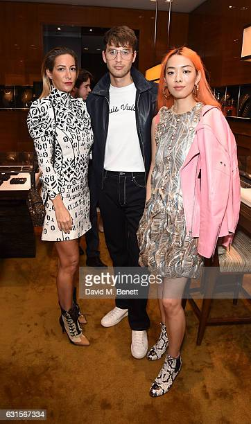 Laura Pradelska Timothy Renouf and Rina Sawayama attend the Louis Vuitton UNICEF #MakeAPromise Day event at the Louis Vuitton New Bond Street store...