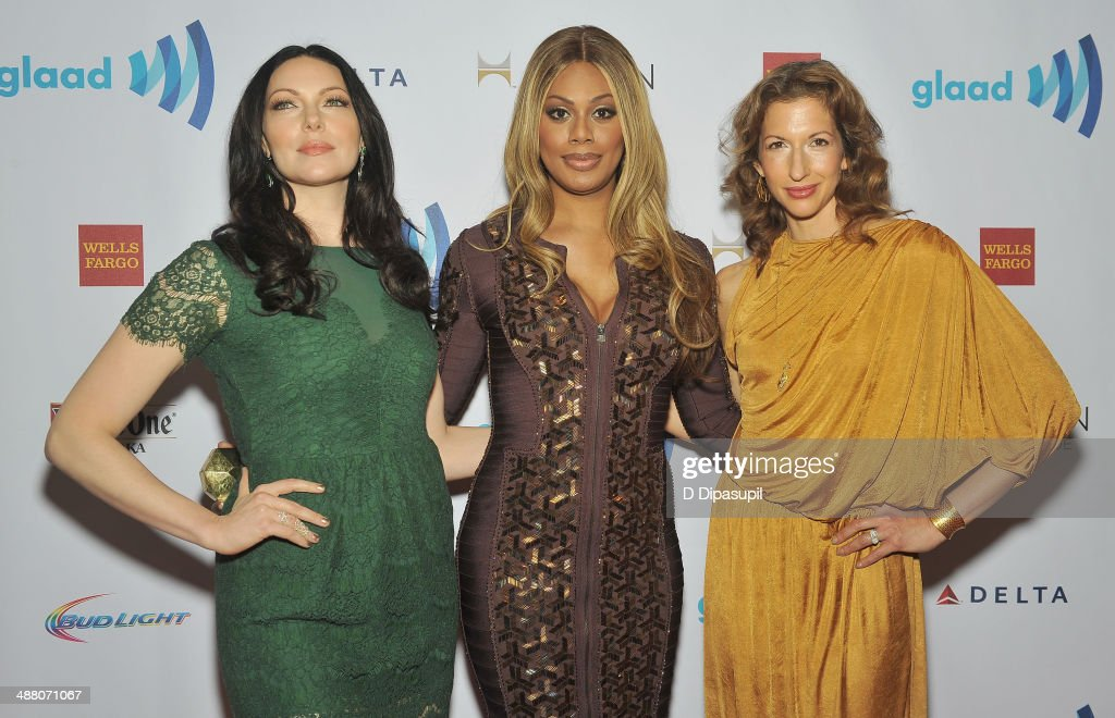 <a gi-track='captionPersonalityLinkClicked' href=/galleries/search?phrase=Laura+Prepon&family=editorial&specificpeople=211299 ng-click='$event.stopPropagation()'>Laura Prepon</a>, <a gi-track='captionPersonalityLinkClicked' href=/galleries/search?phrase=Laverne+Cox&family=editorial&specificpeople=5848606 ng-click='$event.stopPropagation()'>Laverne Cox</a> and <a gi-track='captionPersonalityLinkClicked' href=/galleries/search?phrase=Alysia+Reiner&family=editorial&specificpeople=655685 ng-click='$event.stopPropagation()'>Alysia Reiner</a> attend the 25th Annual GLAAD Media Awards In New York on May 3, 2014 in New York City.