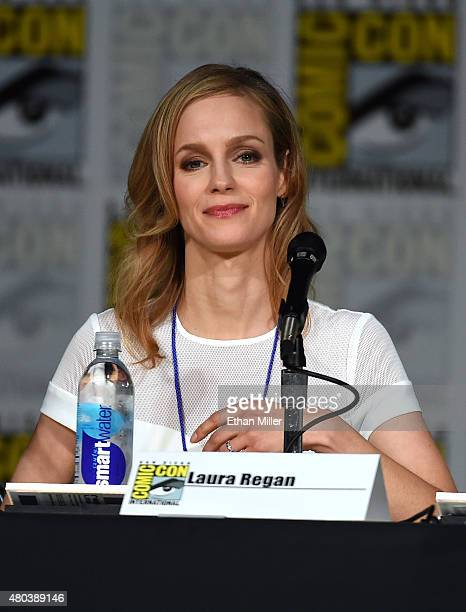 Laura Regan speaks onstage at the 'Minority Report' panel during ComicCon International 2015 at the San Diego Convention Center on July 10 2015 in...