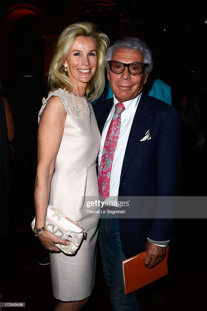 Laura Restelli Brizard and Jean-Daniel Lorieux attend the Frank Sorbier show as part of Paris Fashion Week Haute-Couture Fall/Winter 2013-2014 at Hotel De Bezenval on July 3, 2013 in Paris, France.
