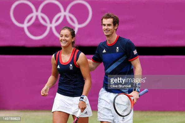 Laura Robson and Andy Murray of Great Britain celebrate after defeating Samantha Stosur and Lleyton Hewitt of Australia to win their Mixed Doubles...