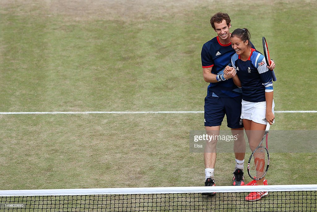 Laura Robson and Andy Murray of Great Britain celebrate after defeating Christopher Kas and Sabine Lisicki of Germany in their Mixed Doubles Tennis...