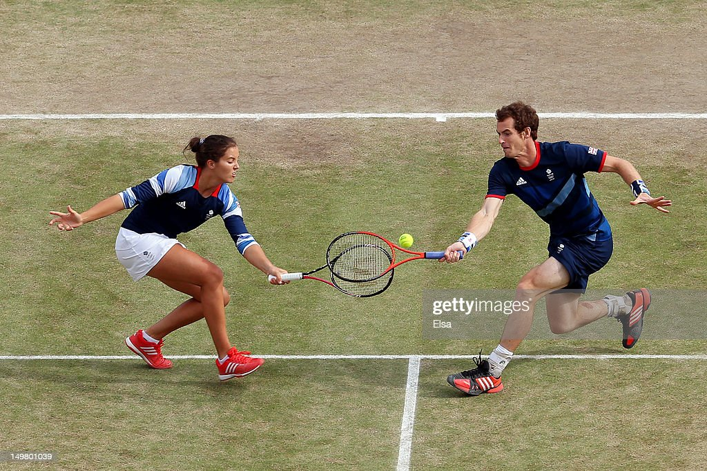 Laura Robson and Andy Murray of Great Britain compete against Christopher Kas and Sabine Lisicki of Germany in their Mixed Doubles Tennis semifinal...