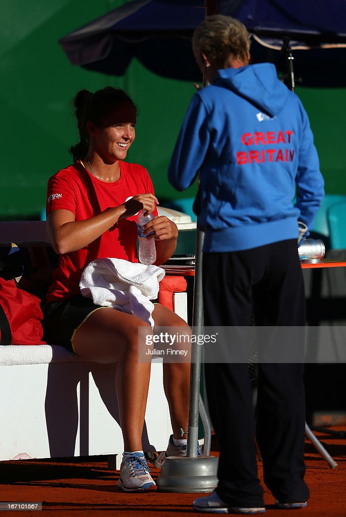 <a gi-track='captionPersonalityLinkClicked' href=/galleries/search?phrase=Laura+Robson&family=editorial&specificpeople=5421044 ng-click='$event.stopPropagation()'>Laura Robson</a> and Captain, <a gi-track='captionPersonalityLinkClicked' href=/galleries/search?phrase=Judy+Murray&family=editorial&specificpeople=582324 ng-click='$event.stopPropagation()'>Judy Murray</a> of Great Britain in a practice session during day one of the Fed Cup World Group Two Play-Offs between Argentina and Great Britain at Parque Roca on April 20, 2013 in Buenos Aires, Argentina.
