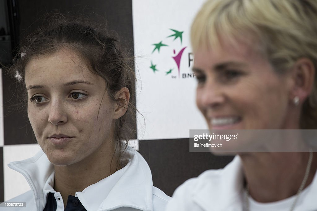 Laura Robson and Judy Murray of Great Britain during a press conference after the tie between Great Britain and Bosnia and Herzegovina during the Fed Cup Europe/Africa Group One fixture at the Municipal Tennis Club on February 7, 2013 in Eilat, Israel.
