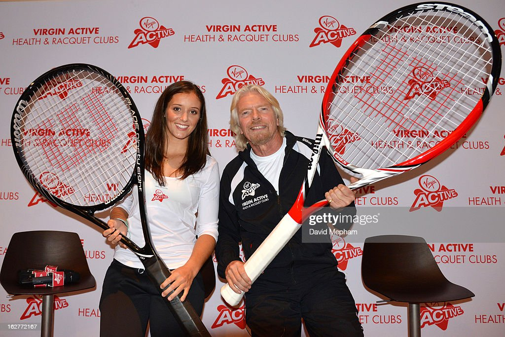 Laura Robson and Sir Richard Branson pose for photos at Virgin Active Chiswick where Laura is announced as the face of their Tennis Academy on February 26, 2013 in London, England.