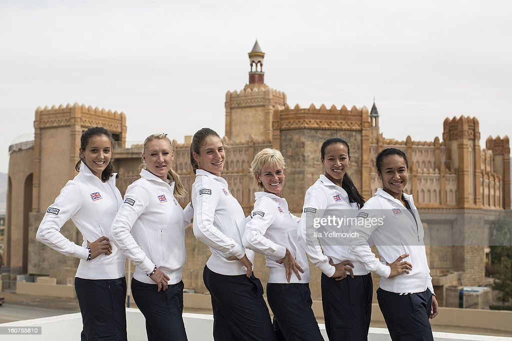 Laura Robson Elena Baltacha Johanna Konta Judy Murray Anne Keothavong and Heather Watson of Great Britain Fed Cup Team 1 pose for a photoshoot at the...