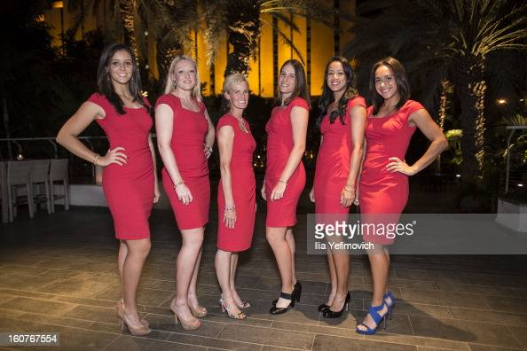 Laura Robson Elena Baltacha Judy Murray Johanna Konta Anne Keothavong and Heather Watson of Great Britain posing for a picture before the official...
