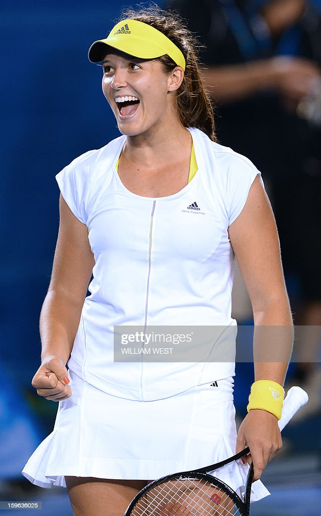 Laura Robson of Britain celebrates after victory in her women's singles match against Czech Republic's Petra Kvitova on the fourth day of the Australian Open tennis tournament in Melbourne on January 17, 2013. AFP PHOTO/WILLIAM WEST IMAGE STRICTLY RESTRICTED TO EDITORIAL USE - STRICTLY NO COMMERCIAL USE