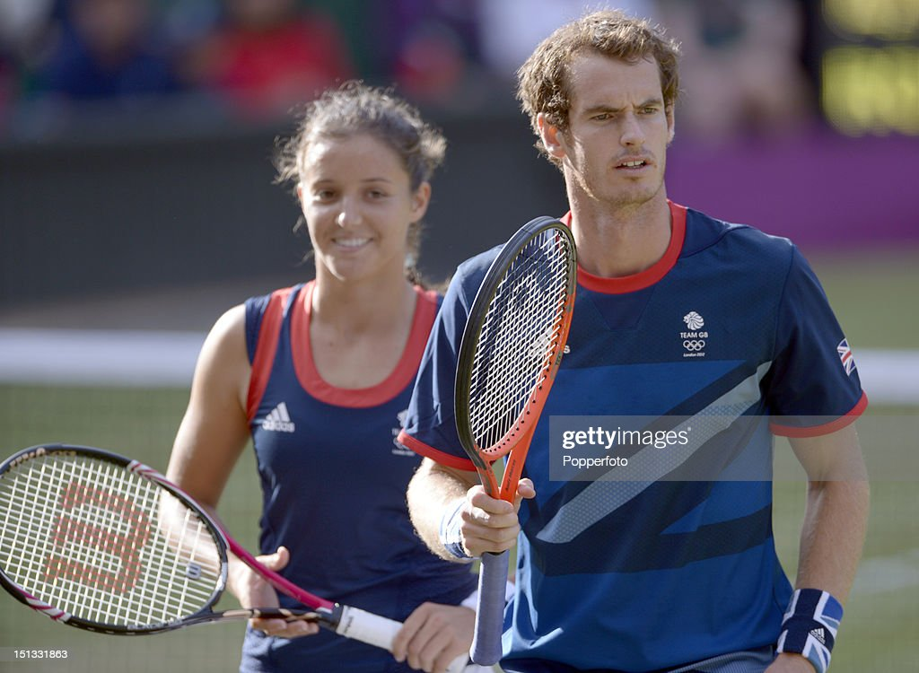 Laura Robson of Great Britain and her partner Andy Murray of Great Britain during the Mixed Doubles Tennis gold medal match against Victoria Azarenka of Belarus and Max Mirnyi of Belarus on Day 9 of the London 2012 Olympic Games at the All England Lawn Tennis and Croquet Club on August 5, 2012 in London, England.