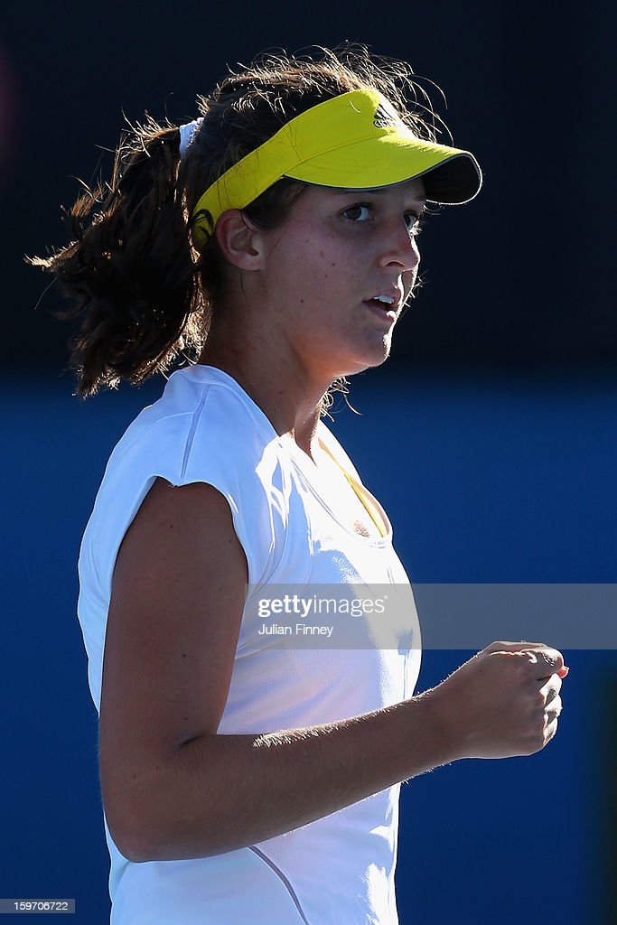 Laura Robson of Great Britain celebrates a point in her third round match against Sloane Stephens of the United States during day six of the 2013 Australian Open at Melbourne Park on January 19, 2013 in Melbourne, Australia.