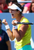 Laura Robson of Great Britain celebrates after defeating Na Li of China during their women's singles third round match on Day Five of the 2012 US...