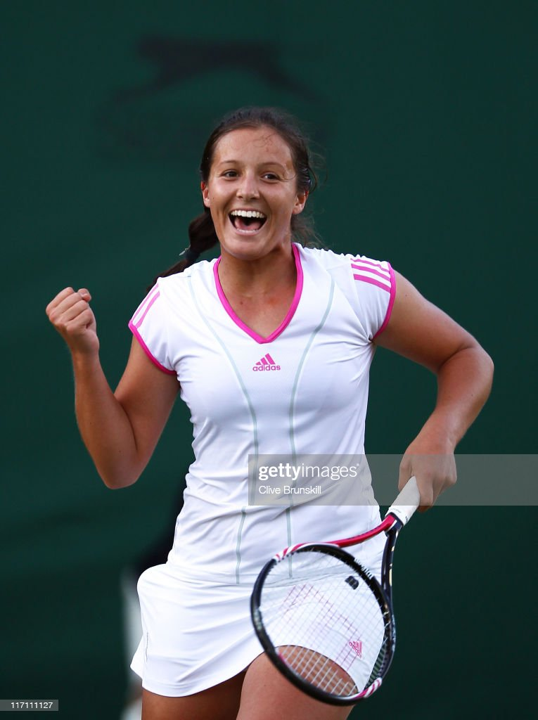 <a gi-track='captionPersonalityLinkClicked' href=/galleries/search?phrase=Laura+Robson&family=editorial&specificpeople=5421044 ng-click='$event.stopPropagation()'>Laura Robson</a> of Great Britain celebrates after winning her first round match against Angelique Kerber of Germany on Day Three of the Wimbledon Lawn Tennis Championships at the All England Lawn Tennis and Croquet Club on June 22, 2011 in London, England.