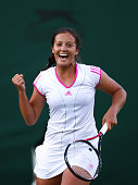 Laura Robson of Great Britain celebrates after winning her first round match against Angelique Kerber of Germany on Day Three of the Wimbledon Lawn...