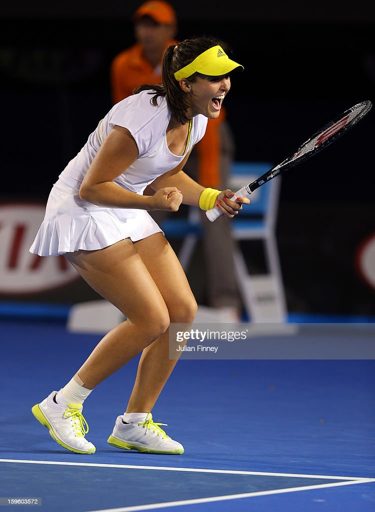 Laura Robson of Great Britain celebrates at match point after defeating Petra Kvitova of Czech Republic in her second round match during day four of the 2013 Australian Open at Melbourne Park on January 17, 2013 in Melbourne, Australia.