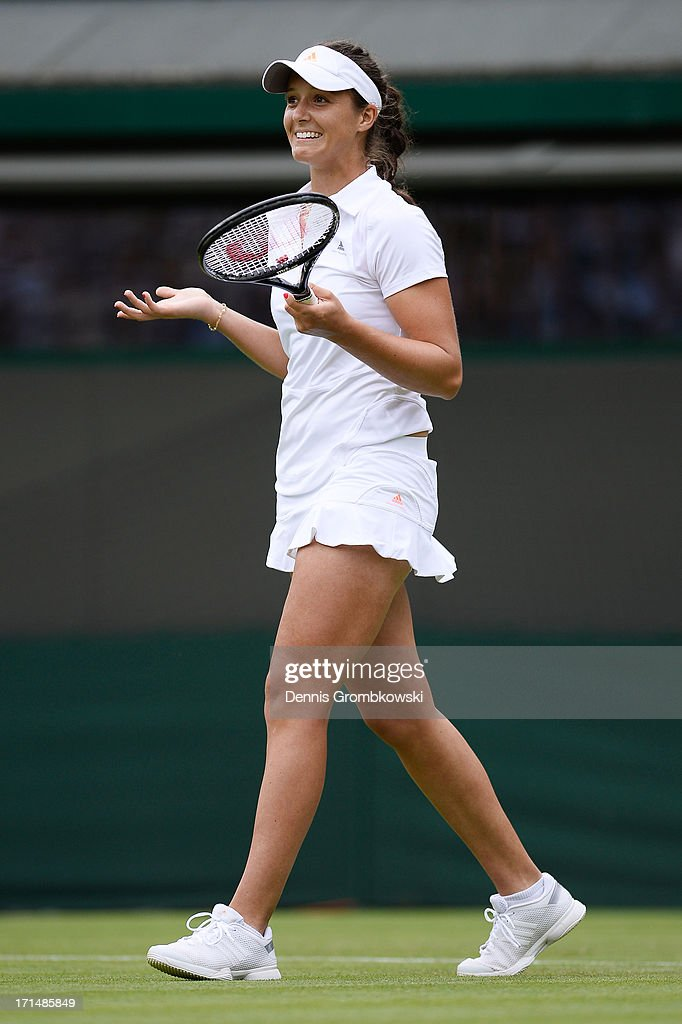 Laura Robson of Great Britain celebrates match point during her Ladies' Singles first round match against Maria Kirilenko of Russia on day two of the Wimbledon Lawn Tennis Championships at the All England Lawn Tennis and Croquet Club on June 25, 2013 in London, England.