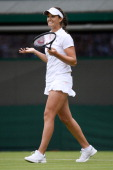 Laura Robson of Great Britain celebrates match point during her Ladies' Singles first round match against Maria Kirilenko of Russia on day two of the...