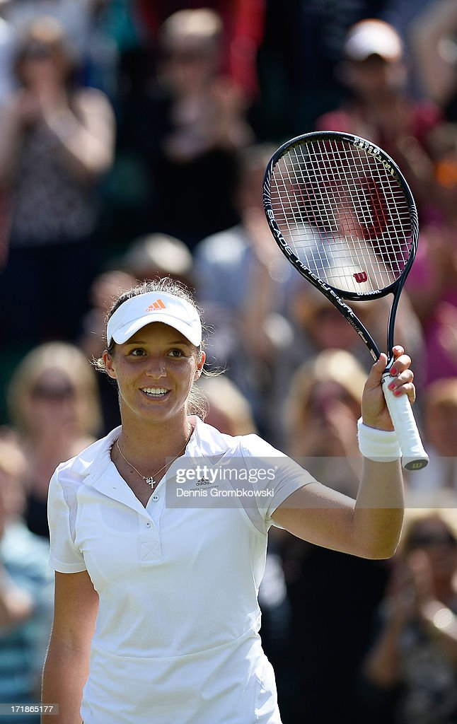 Laura Robson of Great Britain celebrates match point during the Ladies' Singles third round match against Marina Erakovic of New Zealand on day six of the Wimbledon Lawn Tennis Championships at the All England Lawn Tennis and Croquet Club on June 29, 2013 in London, England.