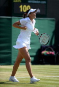 Laura Robson of Great Britain celebrates match point during the Ladies' Singles third round match against Marina Erakovic of New Zealand on day six...
