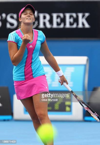 Laura Robson of Great Britain celebrates Match point in her third round qualifying match against Olga Savchuk of Ukraine ahead of the 2012 Australian...