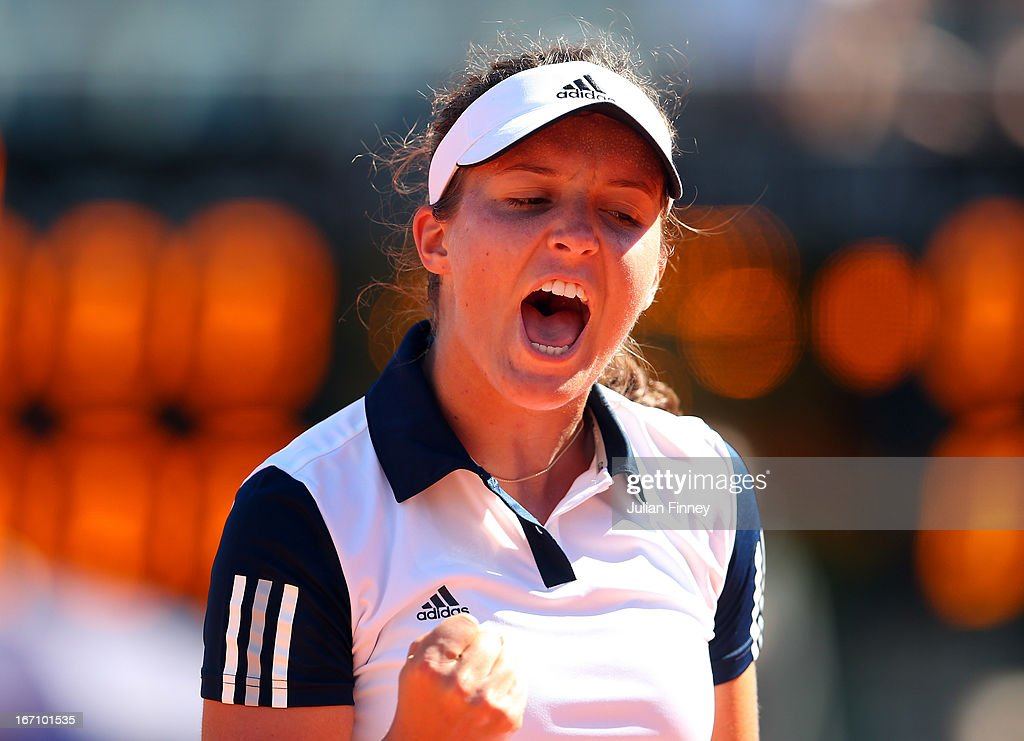 <a gi-track='captionPersonalityLinkClicked' href=/galleries/search?phrase=Laura+Robson&family=editorial&specificpeople=5421044 ng-click='$event.stopPropagation()'>Laura Robson</a> of Great Britain celebrates winning a point in her match against Florencia Molinero of Argentina during day one of the Fed Cup World Group Two Play-Offs between Argentina and Great Britain at Parque Roca on April 20, 2013 in Buenos Aires, Argentina.