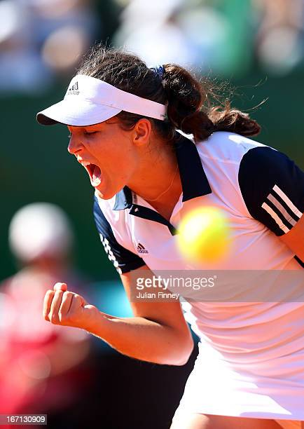 Laura Robson of Great Britain celebrates winning the second set in her match against Paula Ormaechea of Argentina during day two of the Fed Cup World...