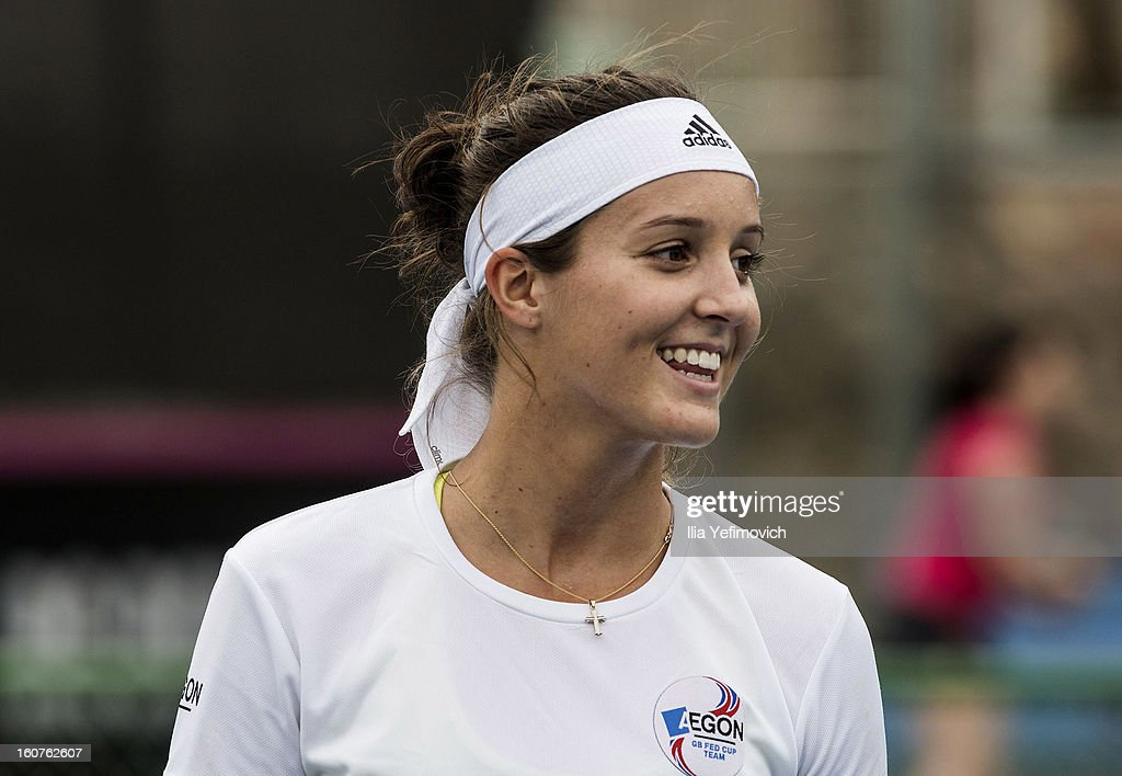 Laura Robson of Great Britain during training ahead of the Fed Cup Group B matches in the Euro/Africa Zone Group 1 at the Municipal Tennis Club on February 5, 2013 in Eilat, Israel.