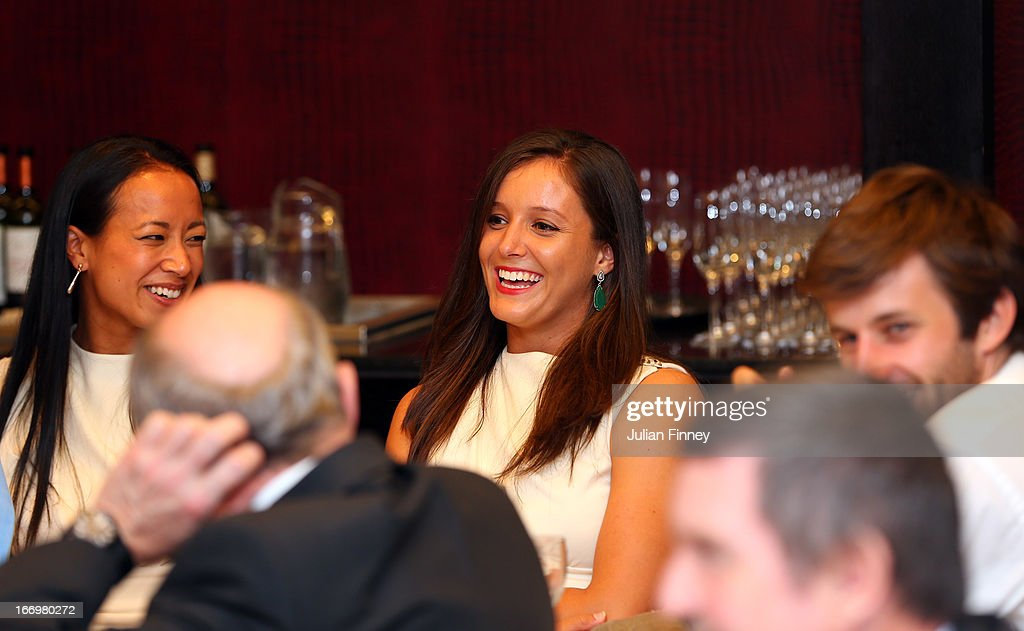 Laura Robson of Great Britain enjoys herself at the team dinner during previews ahead of the Fed Cup World Group Two Play-Offs between Argentina and Great Britain at Parque Roca on April 18, 2013 in Buenos Aires, Argentina.