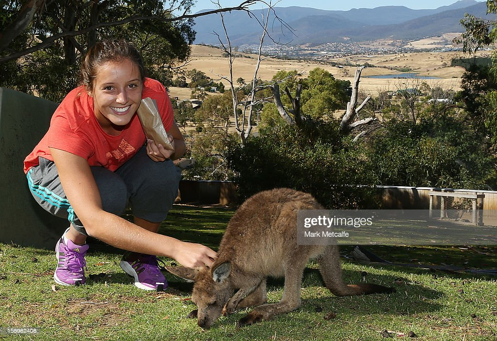 Laura Robson of Great Britain feeds a joey on a visit to Bonorong Wildlife Sanctuary during day two of the Hobart International at Domain Tennis Centre on January 5, 2013 in Hobart, Australia.