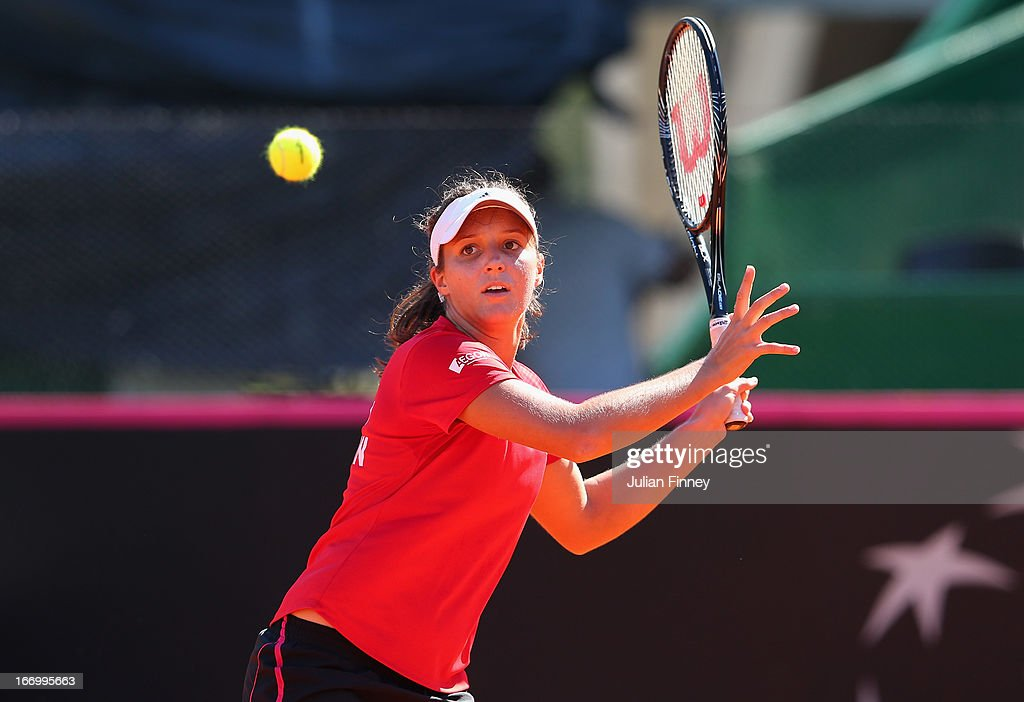 <a gi-track='captionPersonalityLinkClicked' href=/galleries/search?phrase=Laura+Robson&family=editorial&specificpeople=5421044 ng-click='$event.stopPropagation()'>Laura Robson</a> of Great Britain in a practice session during previews ahead of the Fed Cup World Group Two Play-Offs between Argentina and Great Britain at Parque Roca on April 19, 2013 in Buenos Aires, Argentina.